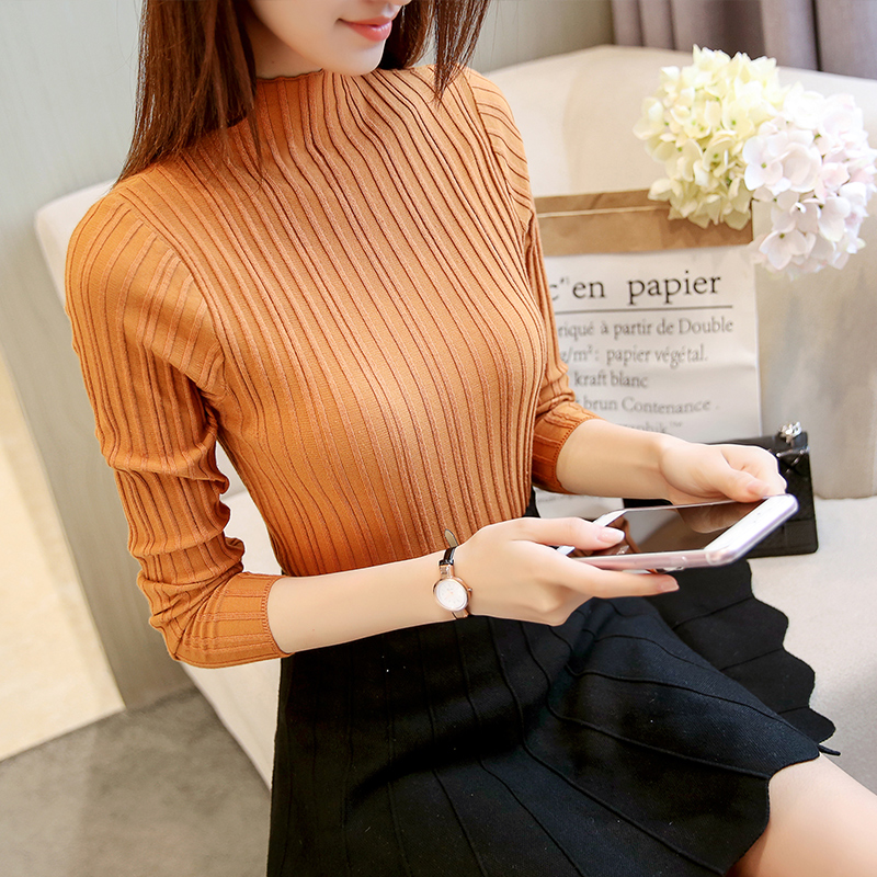 Korean Autumn Winter Women Knitwear Turtleneck Long Sleeve Solid Sim Striped Women Sweaters And Pullovers Top Femme