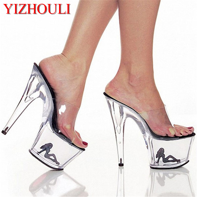 ee8da7ceaa8 Clear Crystal 15-17cm Sexy High Heel Platforms Sandals Model Shoes Sexy The  Pretty Girl Pattern Wedding Shoes