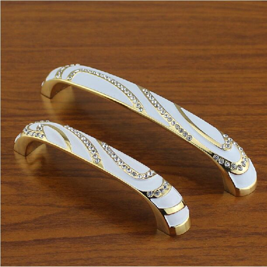 96mm white gold kitchen cabinet drawer handle glass diamond dresser cupboard door pull fashion deluxe modern furniture handles furniture drawer handles wardrobe door handle and knobs cabinet kitchen hardware pull gold silver long hole spacing c c 96 224mm