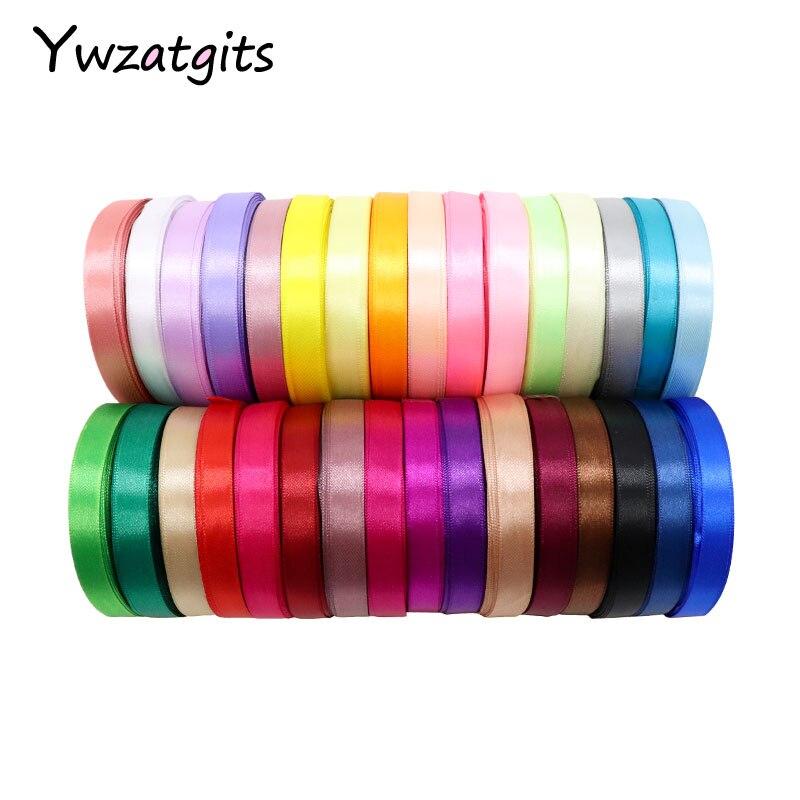 Ywzatgis 1 рулон/лот (мм 25 ярдов/рулон) 12 мм атласные ленты Свадебные Декоративные лента для заворачивания подарка DIY материалы ручной работы 040007109 (12)