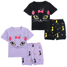 Cute Summer Cat Printed Cotton Baby Girl's Pajamas