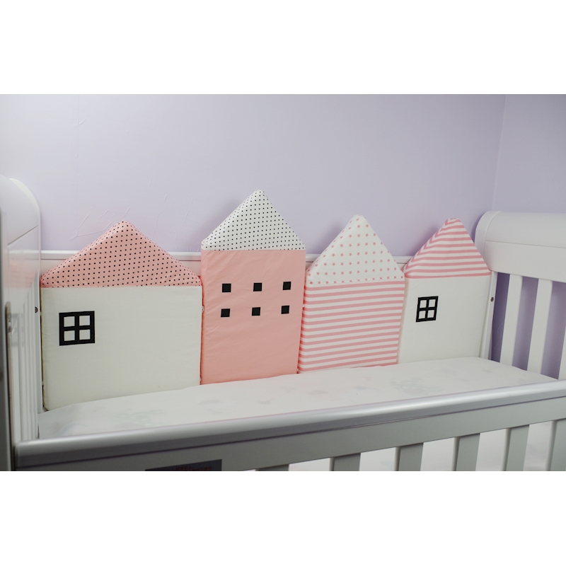 baby-4-pcs-set-Myudi-Baby-bed-bumper-little-house-pattern-crib-protection-infant-Cot-Nursery (5)