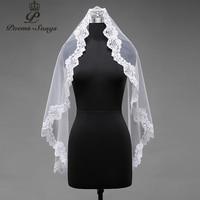Poems Songs High Quality Wedding Veil One Layer Applique Flowers Simple Bridal Veil Comb Elegant Bridal