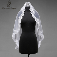 Poems Songs high quality wedding veil one layer applique flowers Simple Bridal Veil + Comb elegant bridal veil free shipping