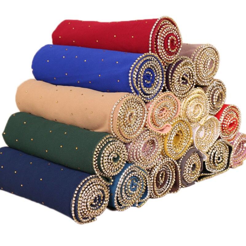 Women bubble chiffon diamond glitter scarves hijab plain long headband fashion scarf wraps muslim shawls 19 color 10pcs/lot