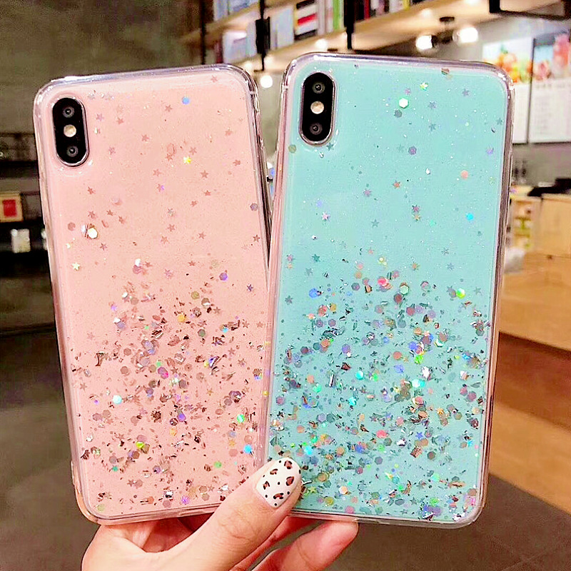 Heyytle Glitter Bling Sequins Case For iphone 8 7 Plus 6 6s Epoxy Star Transparent X XR XS MAX 10 Soft TPU Cover