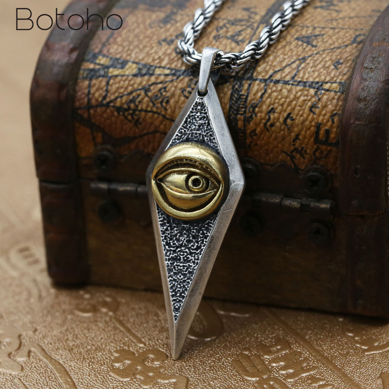 Real 925 Sterling Silver Devil's Eye Pendant for Women Men Retro Punk Domineering Pendant Fit Original Necklace DIY Jewelry Gift