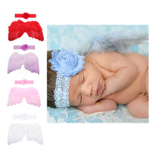 New Baby Newborn Photography Props Infant Girls Angel Feather Wings Set Costume With Headbands Kids Outfit Photo Prop