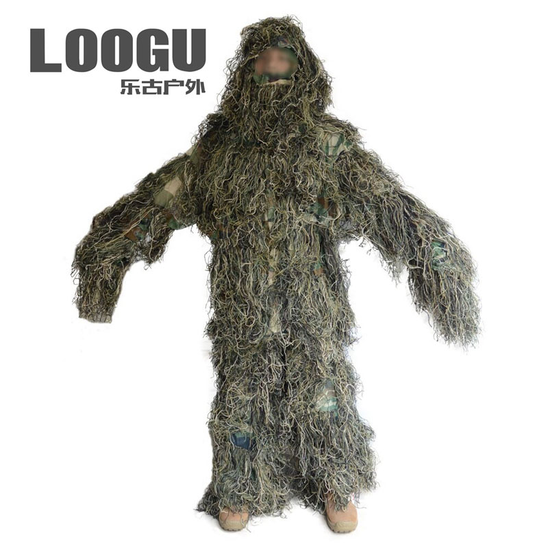 Outdoor Jungle 3d camouflage suit Bionic Leaf Hunting Ghillie Suits Sniper Woodland Camouflage Shade Hunt Clothing military camouflage ghillie suit woodland grass hay style paintball leaf jungle sniper clothes hunting tactical shade clothing
