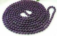Venta caliente 8mm Púrpura de cristal calcedonia grano redondo collar largo mujeres DIY joyería de moda 50