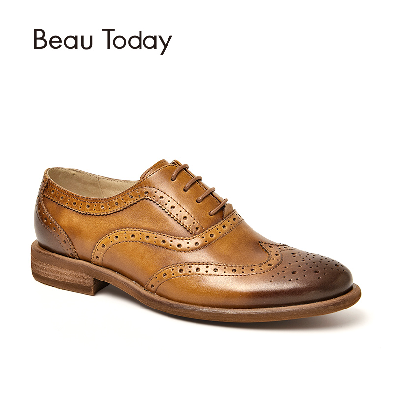 BeauToday Wingtip Oxfords Retro Style Genuine Leather Soft Calfskin Brogue Shoes Lace-Up Good Quality Women Flats Handmade 21411 good quality men genuine leather shoes lace up men s oxfords flats wedding black brown formal shoes