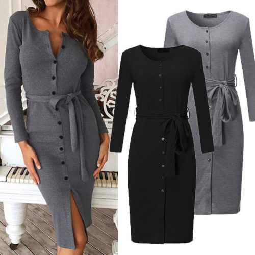 Fashion Women Bandage Bodycon Casual Long Sleeve Evening Party Dresses Button Club Midi Dress
