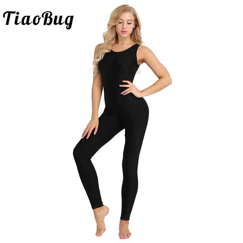 TiaoBug Women Sleeveless Stretchy Unitard Yoga Dance Bodysuit Adult Gymnastics Leotard Sports Jumpsuit Ballet Practice Dancewear