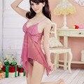 Sexy Pink Lingerie Babydoll Vestido Mulheres Lace Pijamas Roupa roupa interior + G-String