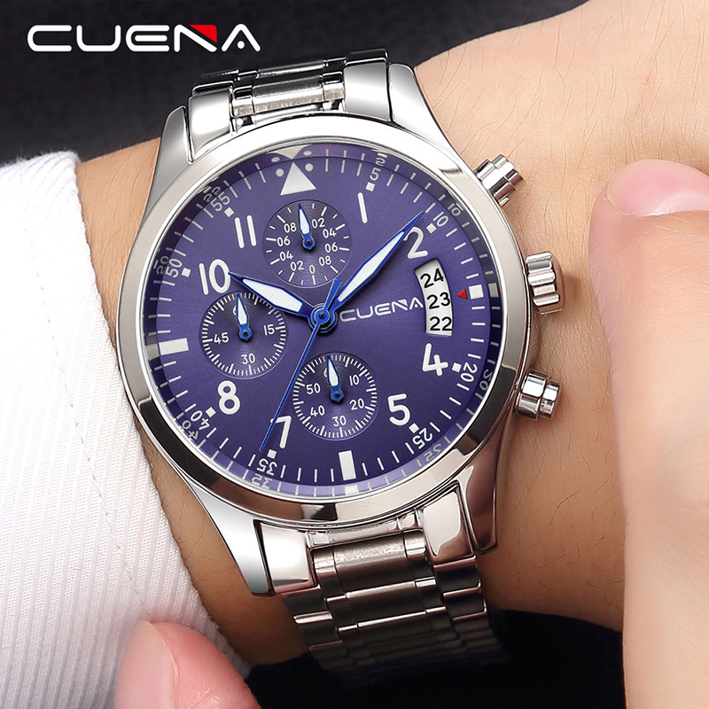 Top Brand Luxury Stainless Steel CUENA Men Quartz Watch Multi-function Six-pin Watch for Male Fashion Relojes Relogio Masculino relojes full stainless steel men s sprot watch black and white face vx42 movement
