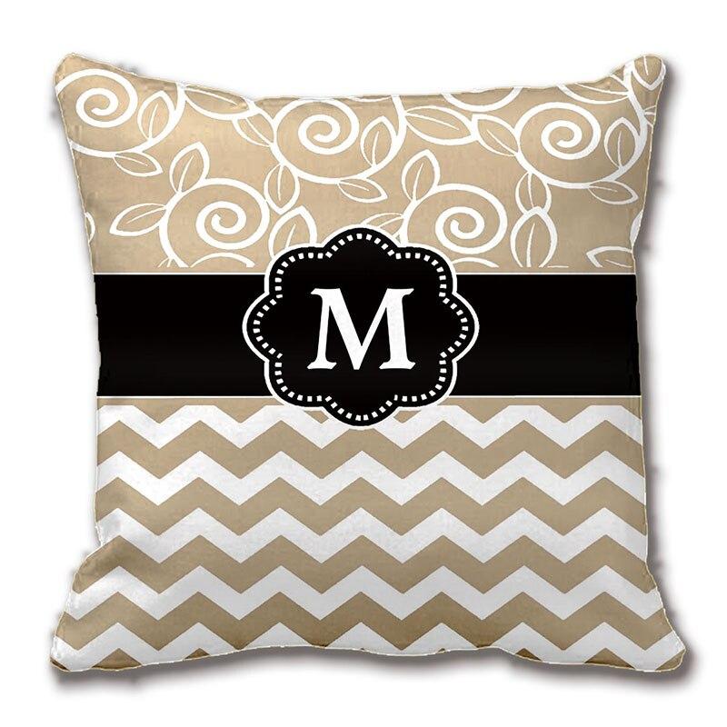 Бежевый черный полосатый монограмма бросить подушку декоративные подушки наволочка настроить подарок Lvsure для дивана сиденье наволочка