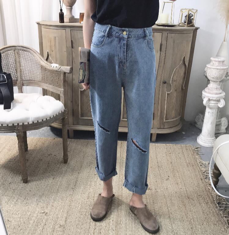 2018 Slanting hole summer simple and slim fit jeans. S-XL!!! high quality Baggy casual jeans.