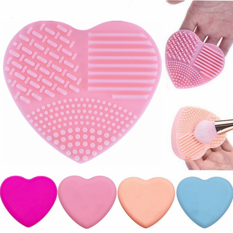 Heart Shaped Clear Make up Brushes Wash Brush Silica Glove Scrubber Board Cosmetic Cleaning Tools for makeup brushes