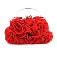 New fashion Women Satin Rose flower evening bags Rhinestone Chain Hand Bag Wedding Party Clutch Dinner Small Purse bolsa