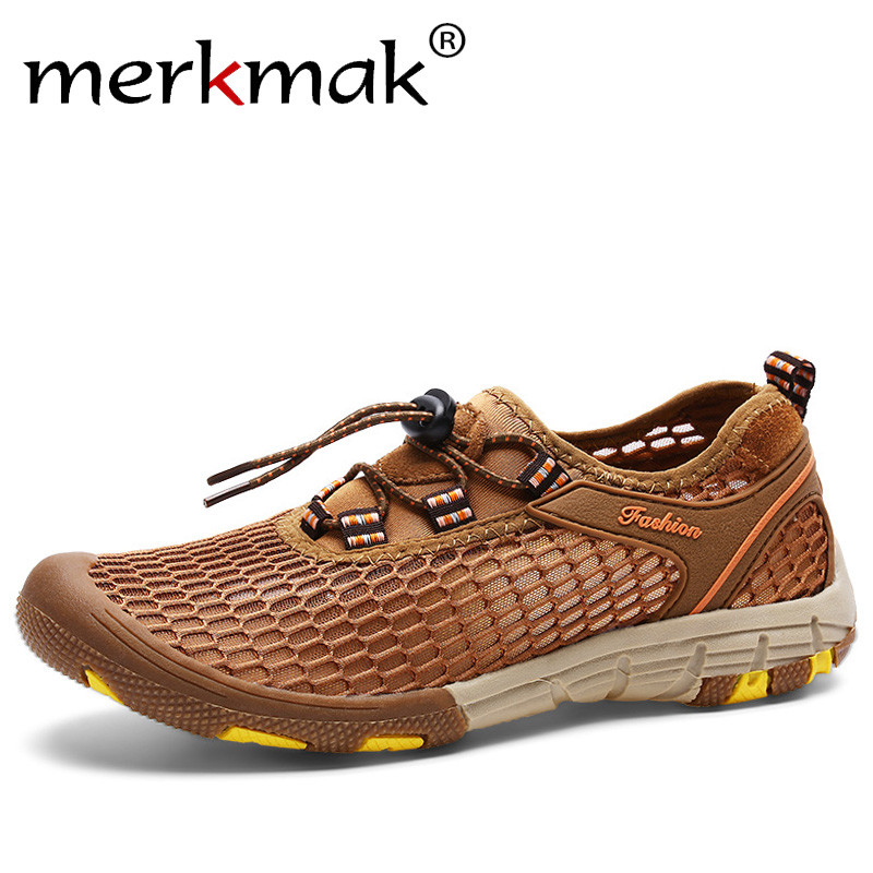 Merkmak Cool Breathable Men Sneakers Summer Protective Outdoor Big Air Mesh Leisure Beach Men Shoes Fashion Driving Loafers