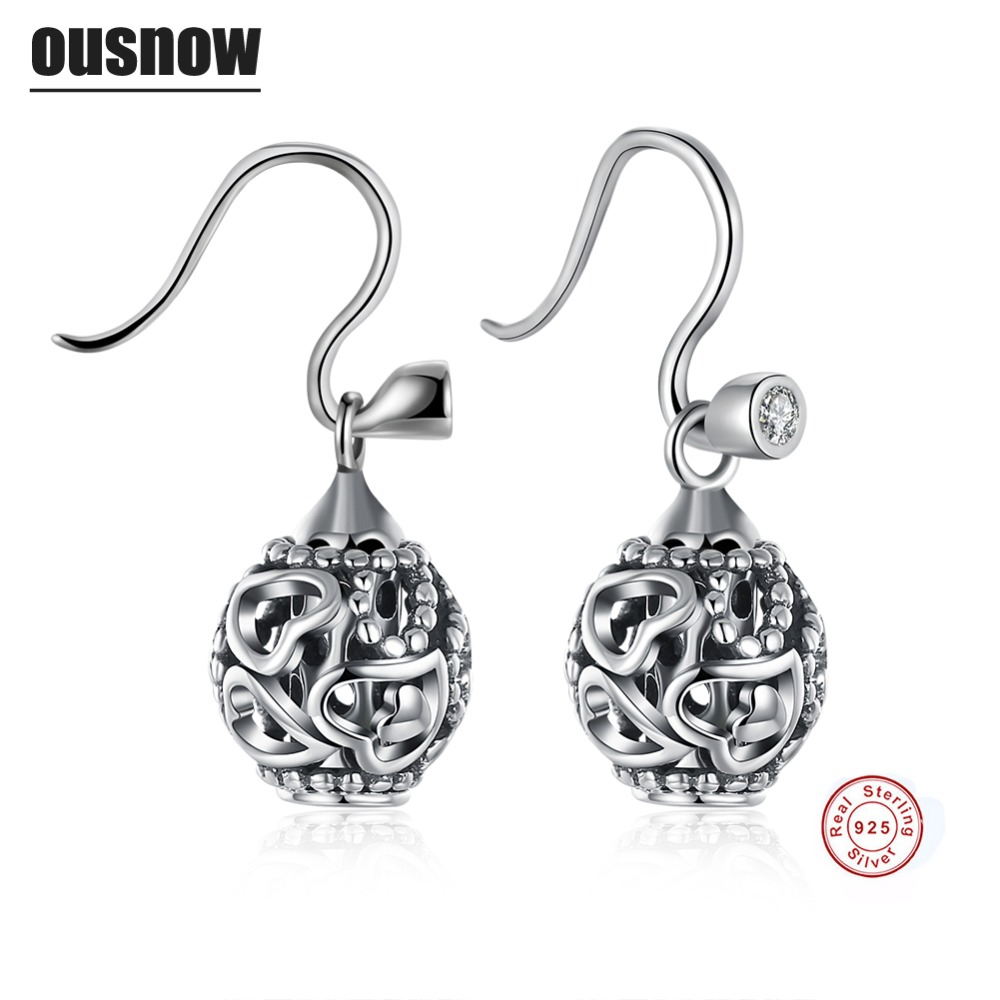 Ousnow Classic Fashion Jewelery Womens Earrings 100% 925 Sterling Silver Round High Quality Lady Earrings Party Preferred
