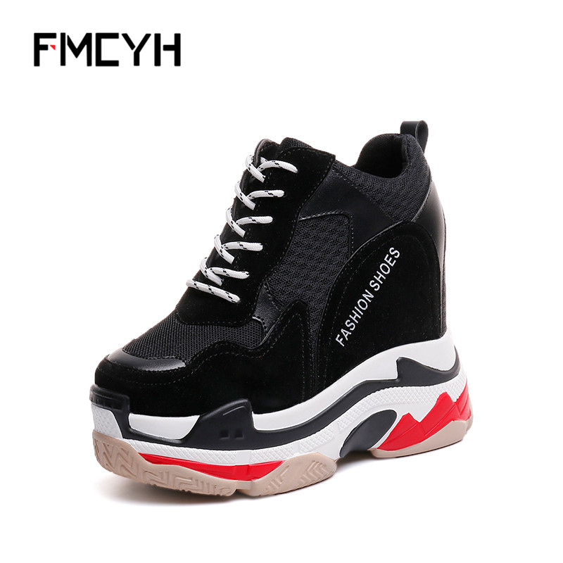 FMCYH Women Platform Shoes Hidden Increase 12CM Pumps Breathable Mesh Footwear Woman Wedge High Heels Casual Lady Shoes Sneaker women high platform shoes patent leather star lady casual fashion wedge footwear heels shoes size 34 39 p17979