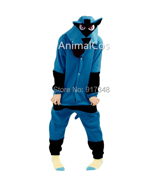 Novelty Cartoon Anime Karaktär Pokemon Lucario Kostym Vuxen Onesie Kvinnor Mäns Pyjamas Halloween Julparty Kostymer