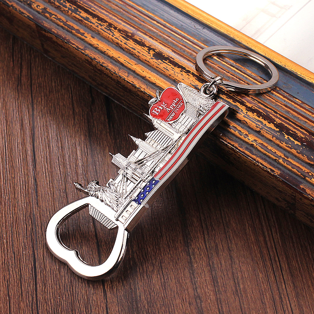 Vicney Big Apple Opener Keychain With Statue Of Liberty Golden Gate Bridge Key Chain Gifts Souvenir New York Key Ring For Key