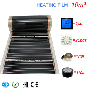 Image 2 - 10M2 Carbon Foil Kits Electric Underfloor Heating Film, Room Digital Thermostat, Heating Film Clamps