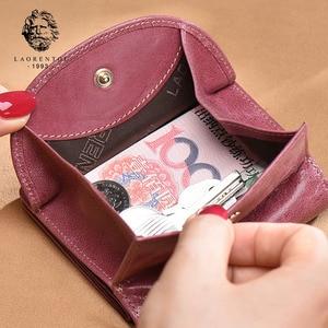 Image 2 - LAORENTOU Brand Women Short Wallets Genuine Leather Standard Wallets Fashion Zipper Purse Lady Coin Pocket Card Holder for Woman