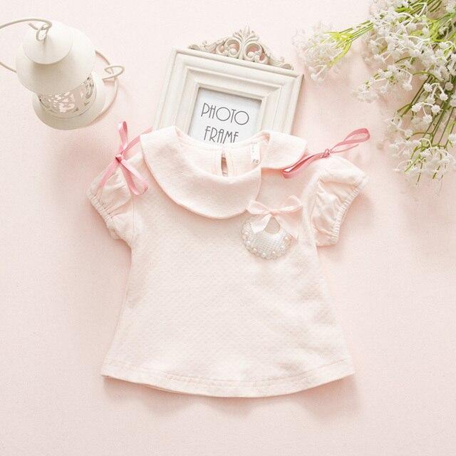 Новорожденный 2017 Хлопок Бренд Детская Одежда Для Девочек Малыша Baby Clothing Короткие Тис Детские Футболки Летние Девушки белый розовый 0-2 год