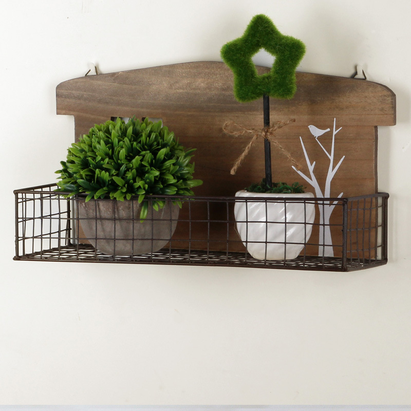Metal Wall Cabinet Storage Rack bathroom Shelves Decorative Wooden ...
