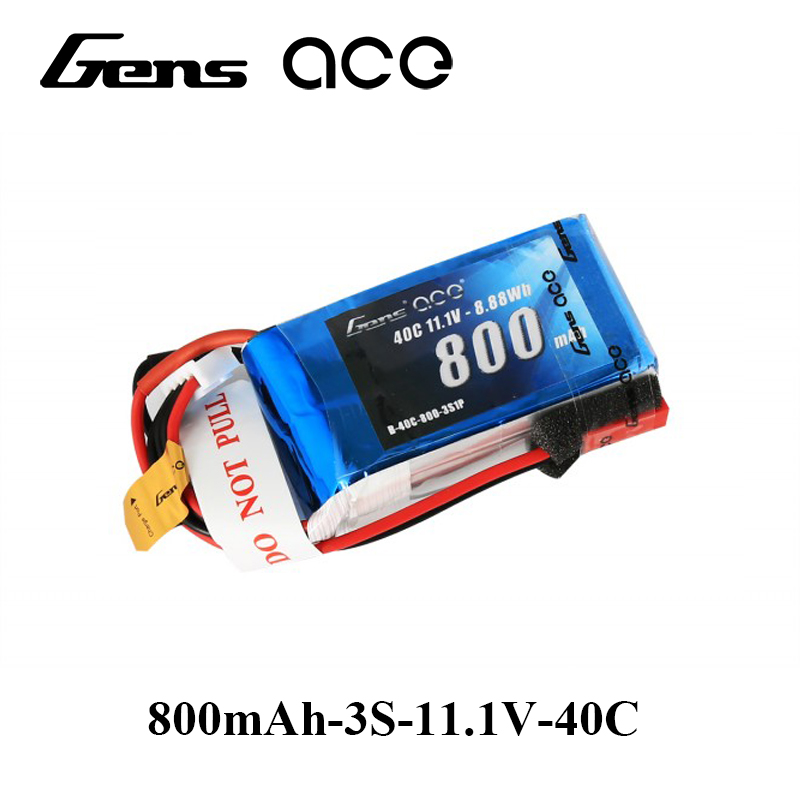 Gens ace <font><b>Lipo</b></font> Battery 11.1V <font><b>800mAh</b></font> <font><b>Lipo</b></font> <font><b>3S</b></font> Battery Pack 40C JST-SYP-2P Plug Batteries for 250 Helicopter High Quality Top Brand image