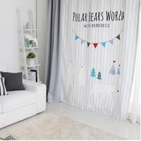 1x Drapery Panel Nursery Kids Children Room Curtain Window Dressing Covering 145 x 180cm 220cm 240cm 270cm Custom Made Bear Gray