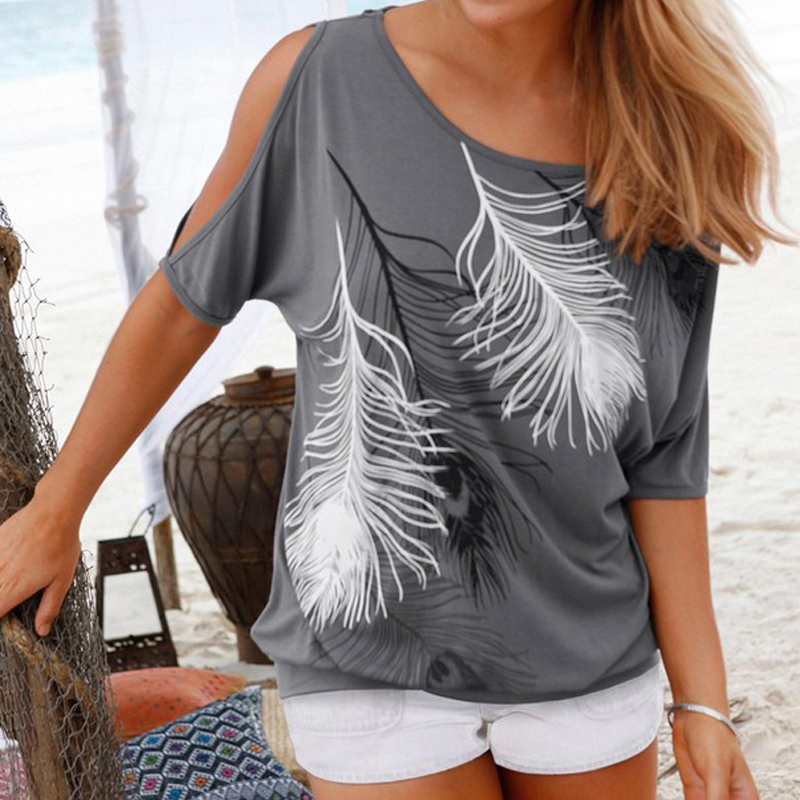 Femme Summer Women Tops Feather Printed O neck Strapless ...