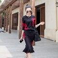 Mulher desfile de moda terno 2017 primavera outono de manga comprida camisola de malha e saia rabo de peixe magro ocasional preto 2 peça set