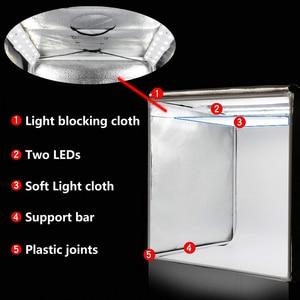 Image 2 - WINGRIDY 60cm LED Folding Photo Studio Softbox Lightbox 60*60 light Tent W60 white yellow black background Accessories box light