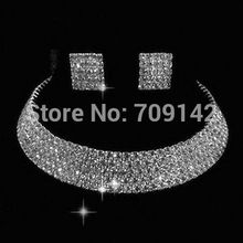 women's jewelry 5 Rows Wedding Bridal Party crystal Necklace Earring Prom GP Set Silver Hook Necklaces Set Free deliver