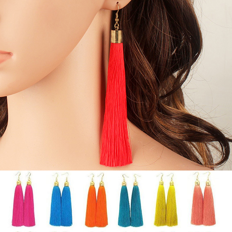2016 Bohemian Big Geometric Long Earrings Golden Tassel Women Retro Fashion Alloy Water Drop Earrings
