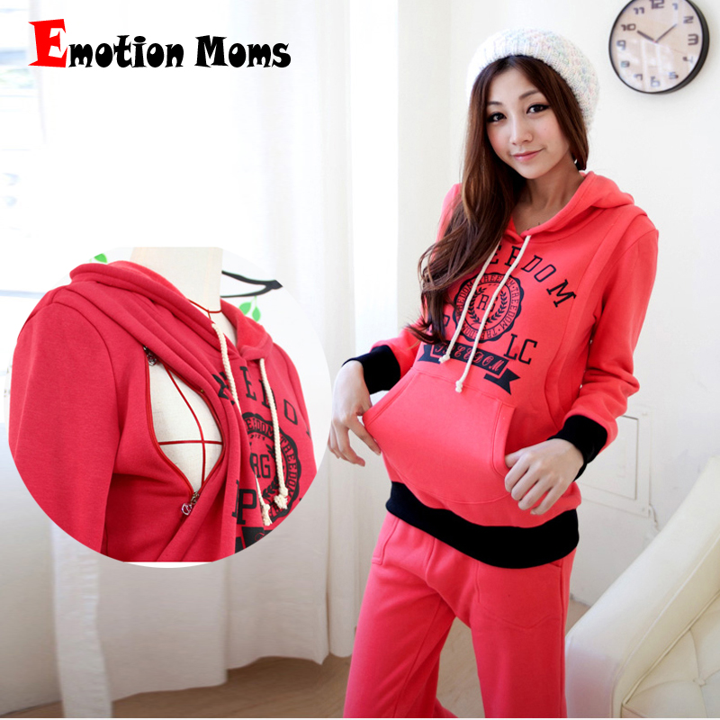 Emotion Moms thermal Maternity Clothes sets winter Nursing Breastfeeding Clothes for Pregnant Women Pajama Maternity Sleepwear