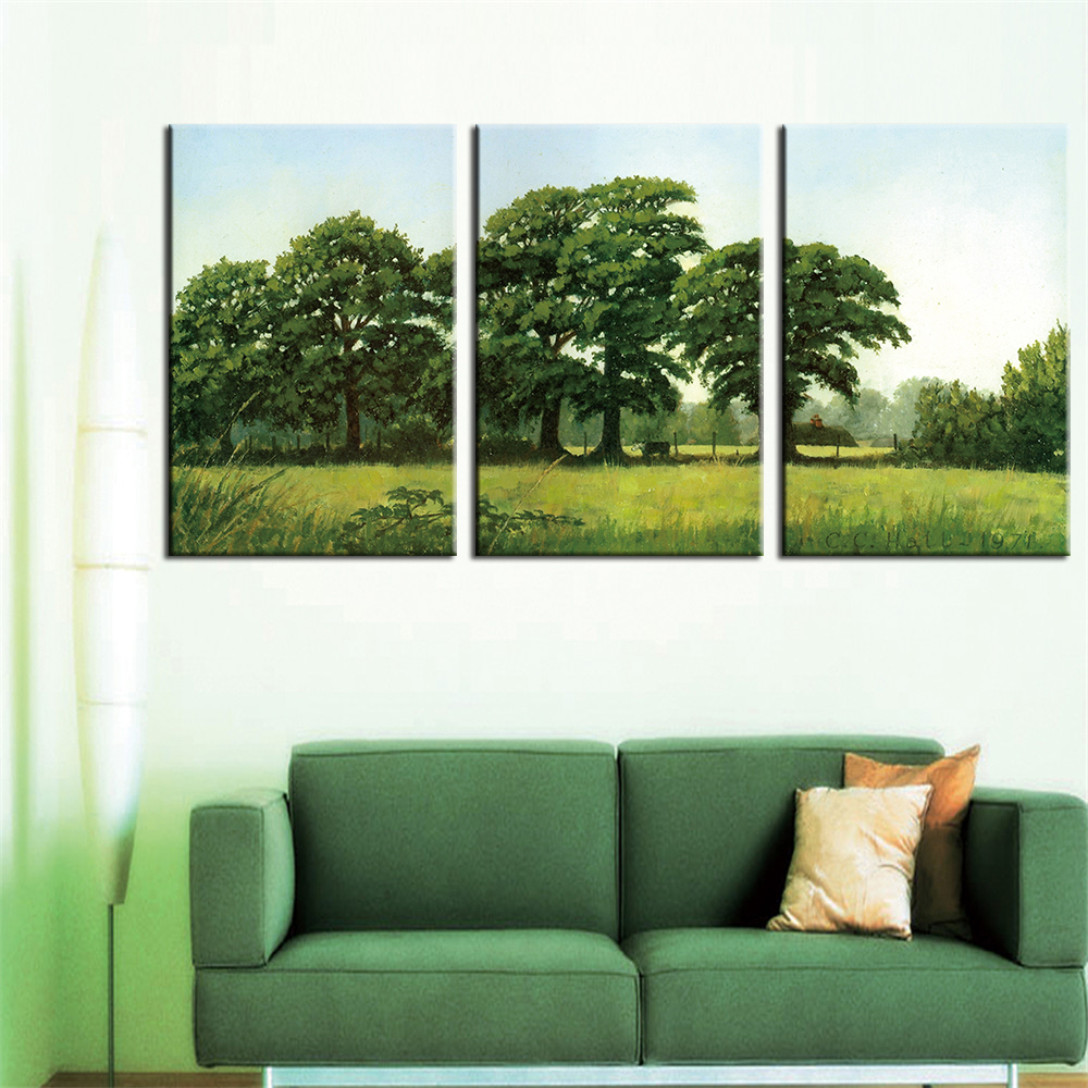 Kanvas Lukisan Pemandangan Pohon Hijau Dekorasi Rumah Natal Dekorasi