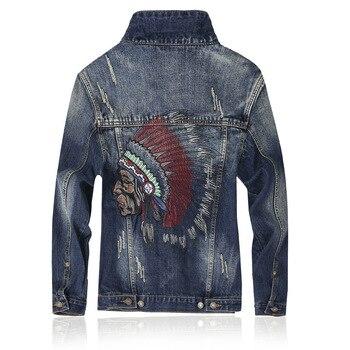 Men's Fashion Denim Jacket Embroidery Ripped Slim Fit Denim Jacket Spring Autumn Coat