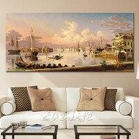 Венецианская Картина на холсте caudro украшение итальянский морской пейзаж Высокое качество картина маслом настенные картины для гостиной на