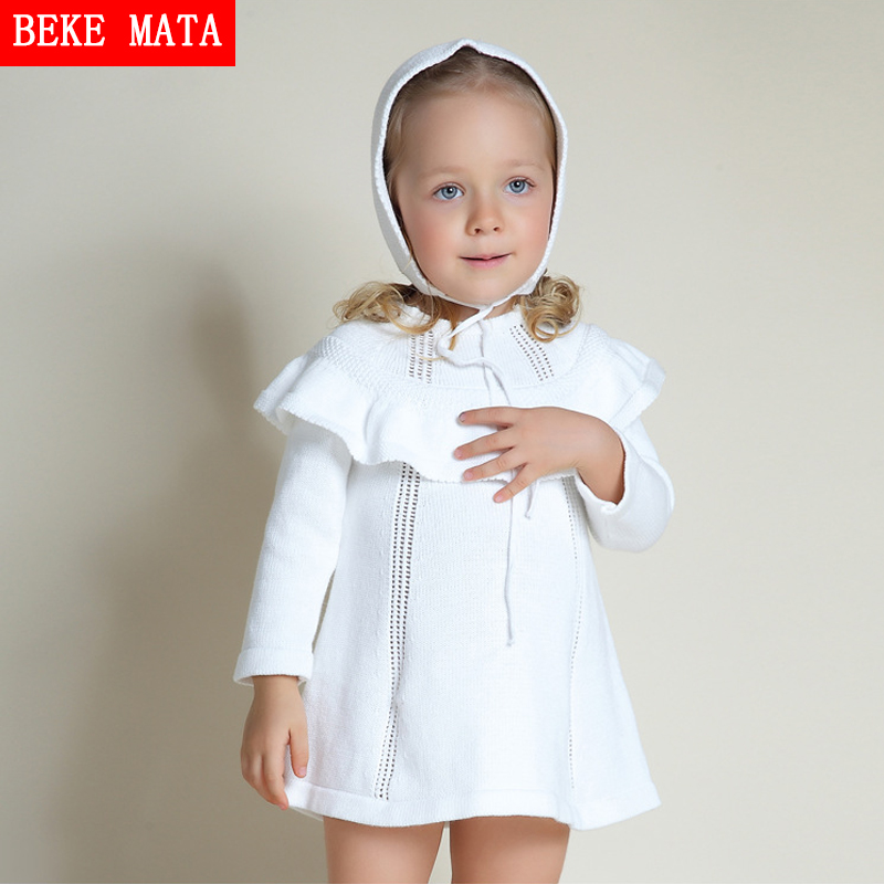 BEKE MATA Baby Girl Sweater Dress Winter 2016 Full Sleeve Kid Princess Dresses For Girls Hooded Shawl Knitted Toddler Girl Dress bonu sexy bodycon sweater dress simple elegant dress female winter knitted flare sleeve split dresses for women vestidos