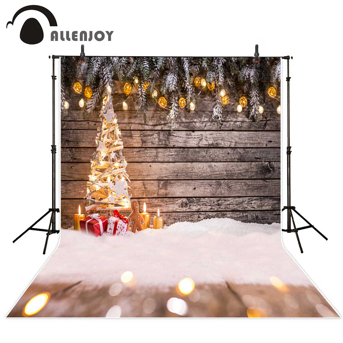 Allenjoy backgrounds for photo studio Christmas snow shiny tree bokeh backdrop photobooth computer printing vinyl