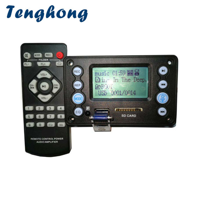Tenghong decodificadores MP3 Bluetooth 4,2 con grabación, MP3 WAV WMA APE DC5V, batería de 12V, placas decodificadoras de entrada de Audio bidireccional para bricolaje