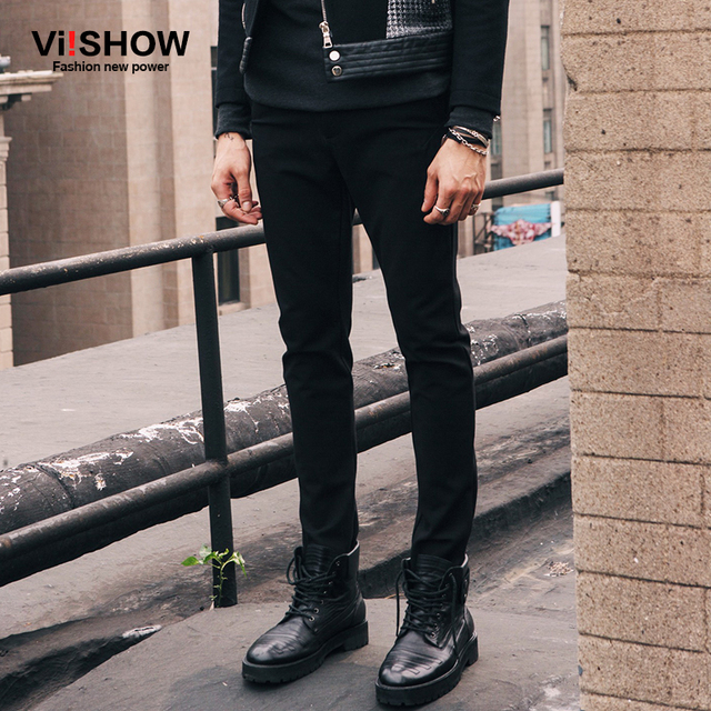 2016 New Arrival men Pencil Pants Mens Slim Fit Trousers Straight black casual pants Men breathable trousers