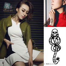 Harajuku Waterproof Temporary Tattoos For Lady Women 3d Skull Snake Design Halloween Tattoo Sticker RC2210