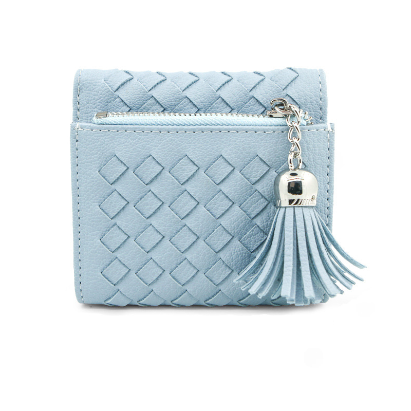 Prettyzys Knitting Slim Women Short Wallets Small Wallet Solid Simple PU Leather Ladies Girls Coins Purse Card Holder Fashion fashion small wallet women short luxury brand cute female purse pu leather cat design girls lady zipper wallets card holder bags