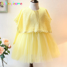 2-7Years/Spring Autumn Korean Kids Clothes Yellow Long Sleeve Tutu Baby Girls Dress For Children Clothing Toddler Dresses BC1257
